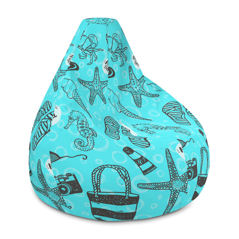 Amazing Beach Style All Over Print Bean Bag Chair W Filling Alphanode Cool Chair Designs And Ideas Alphanodeonline